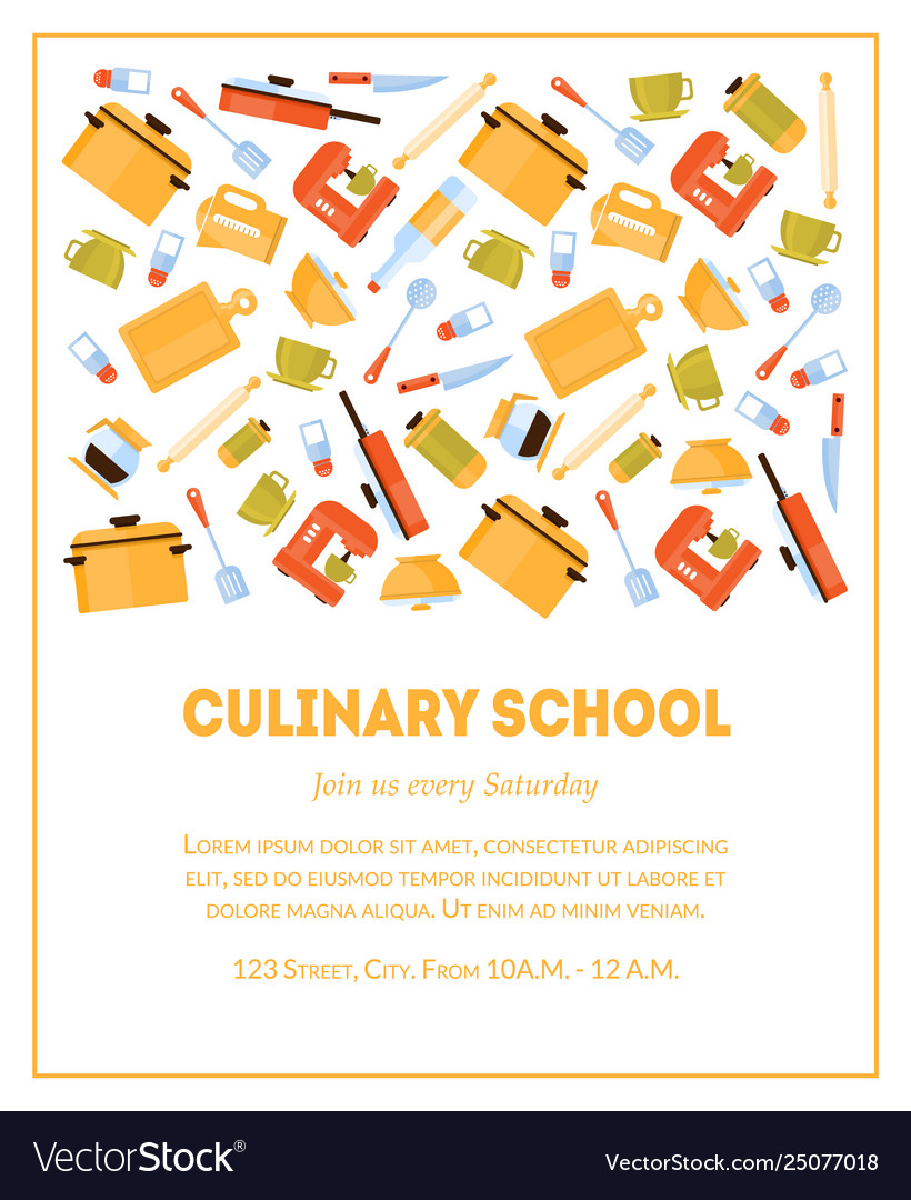 Culinary School Banner Template Invitation Card Vector Image