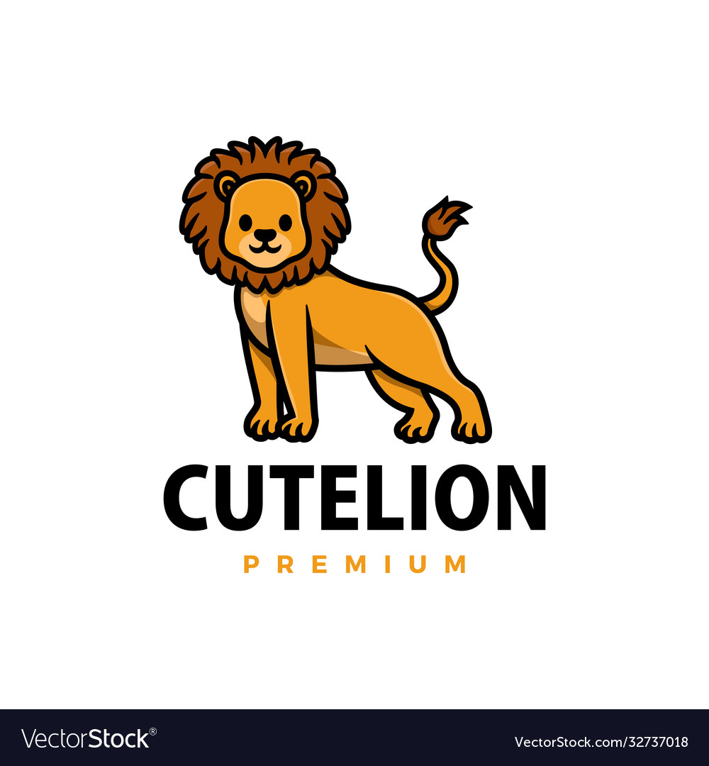 Cute lion cartoon logo icon
