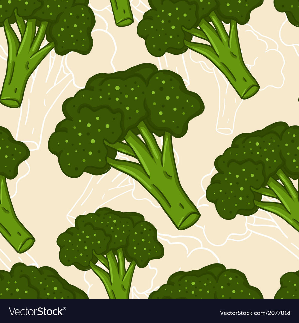 Cute seamless hand drawn broccoli background