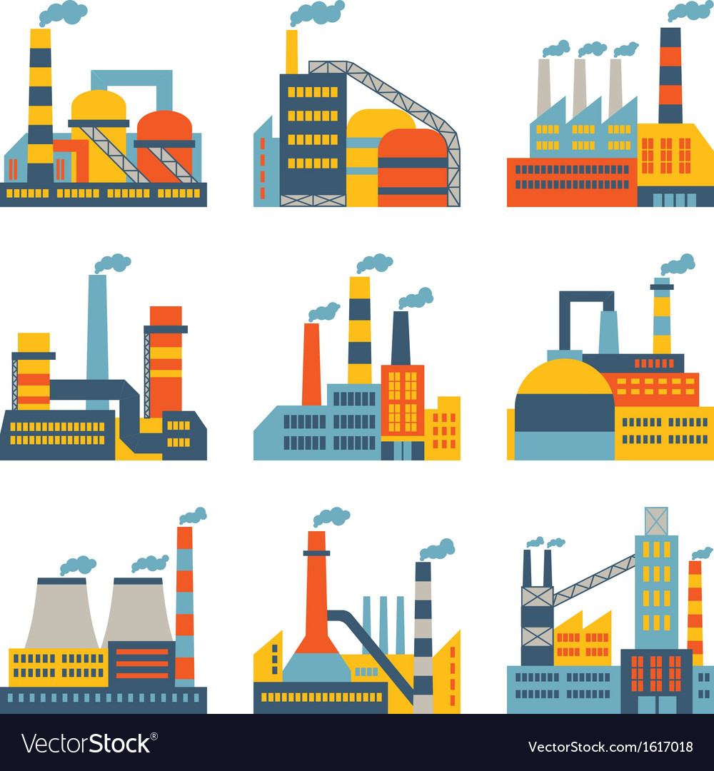 Industrial factory buildings icons set in flat
