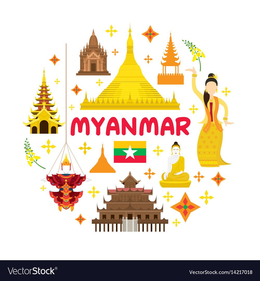 Myanmar travel attraction label vector image