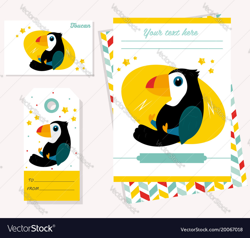 Party invitation template with funny toucan