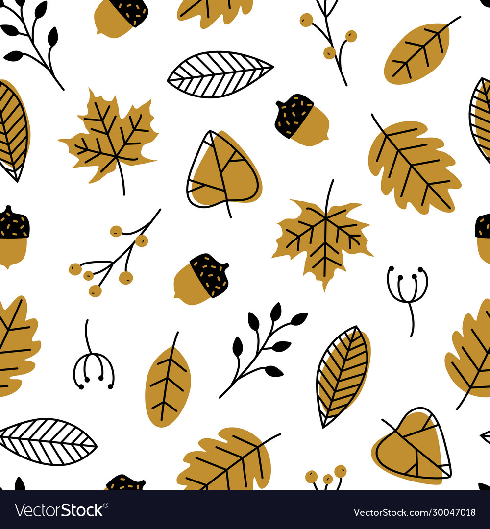 Seamless pattern with doodle leaves acorns modern