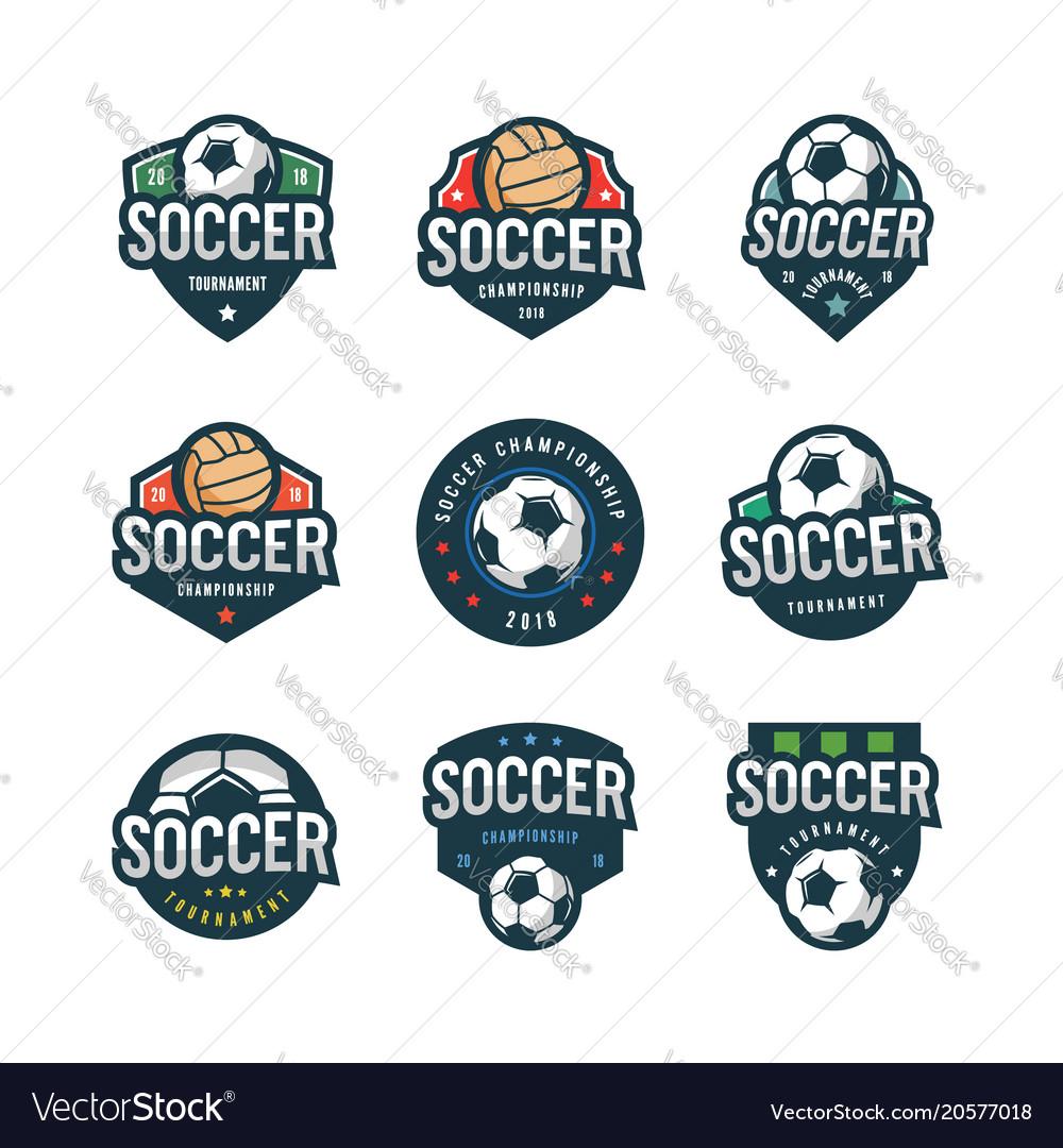 Set football soccer logos sport emblems