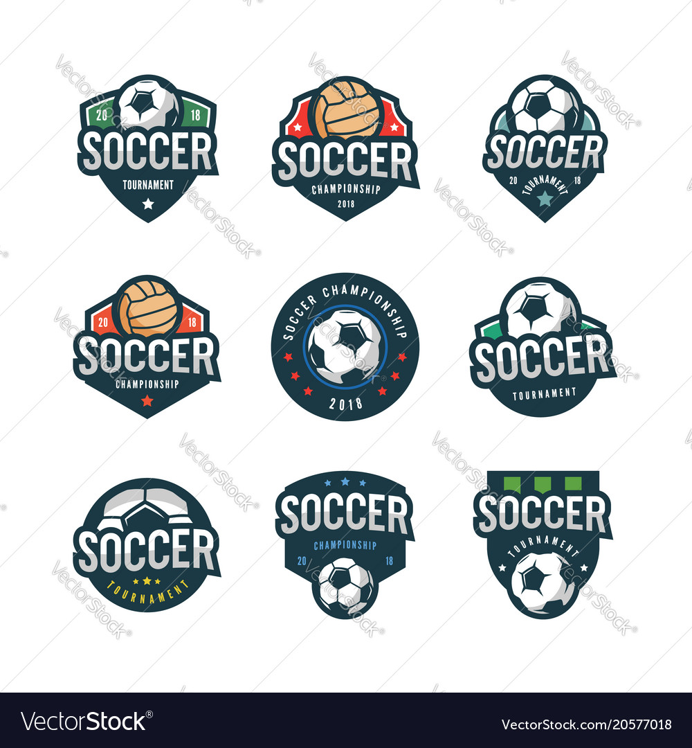 Set of football soccer logos sport emblems