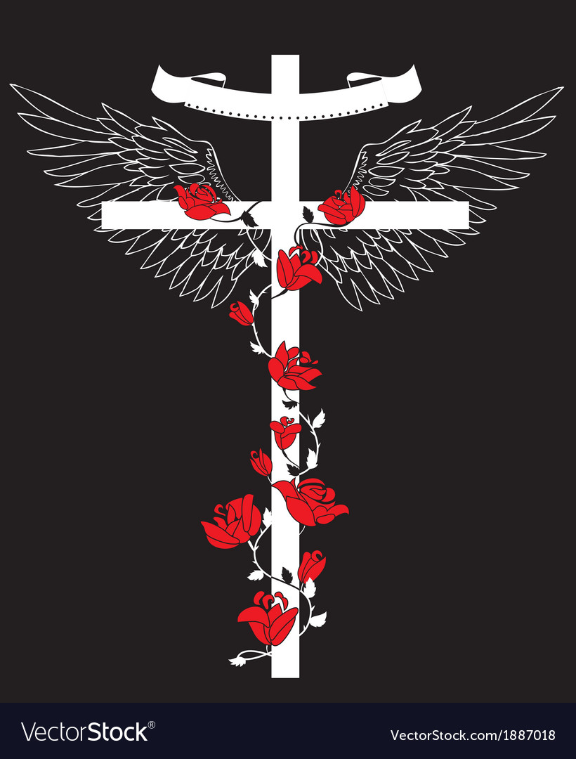 The Cross with wings vector image