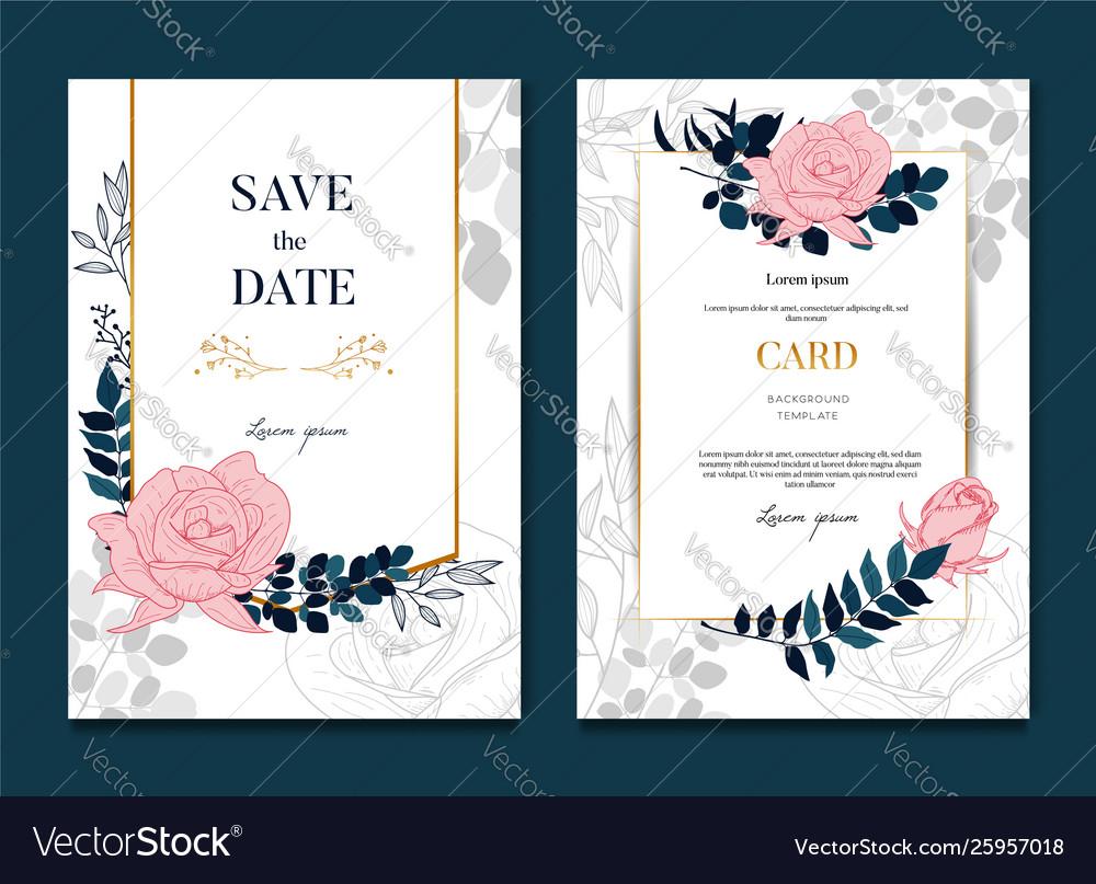 Websimple elegant rose wedding frames card and