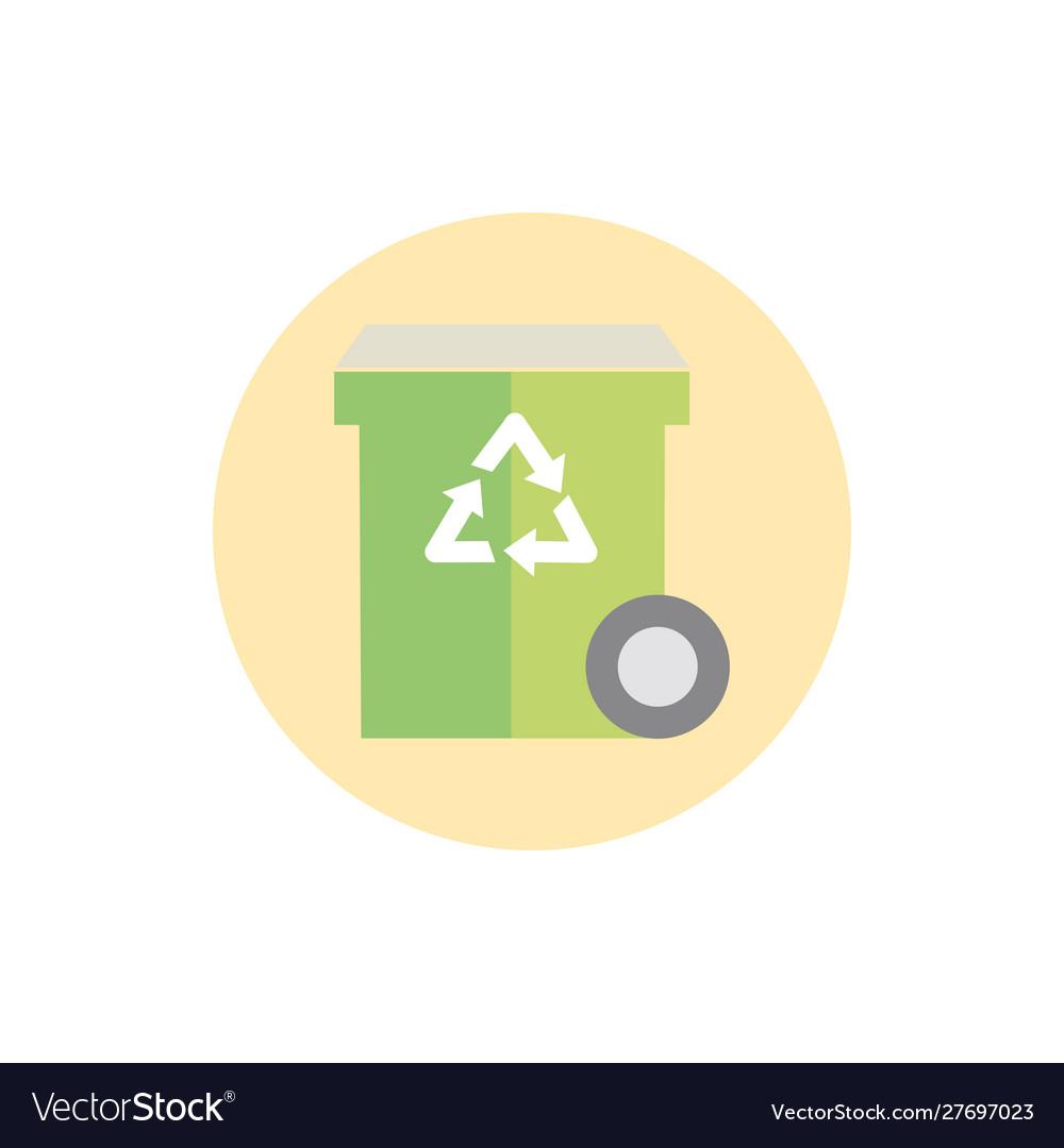Bin recycle waste with wheel green energy block