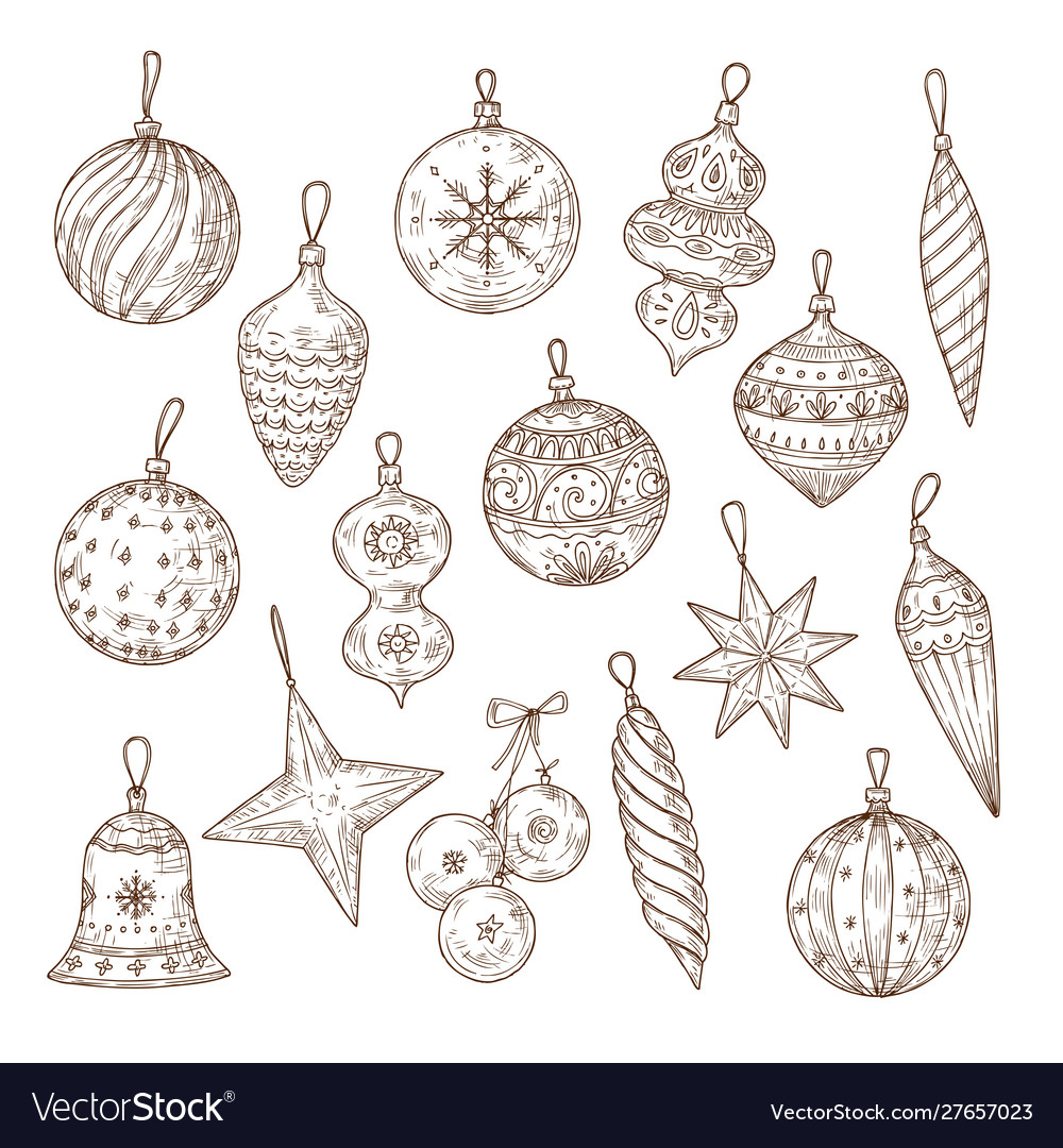 Christmas balls sketch set xmas tree decorations