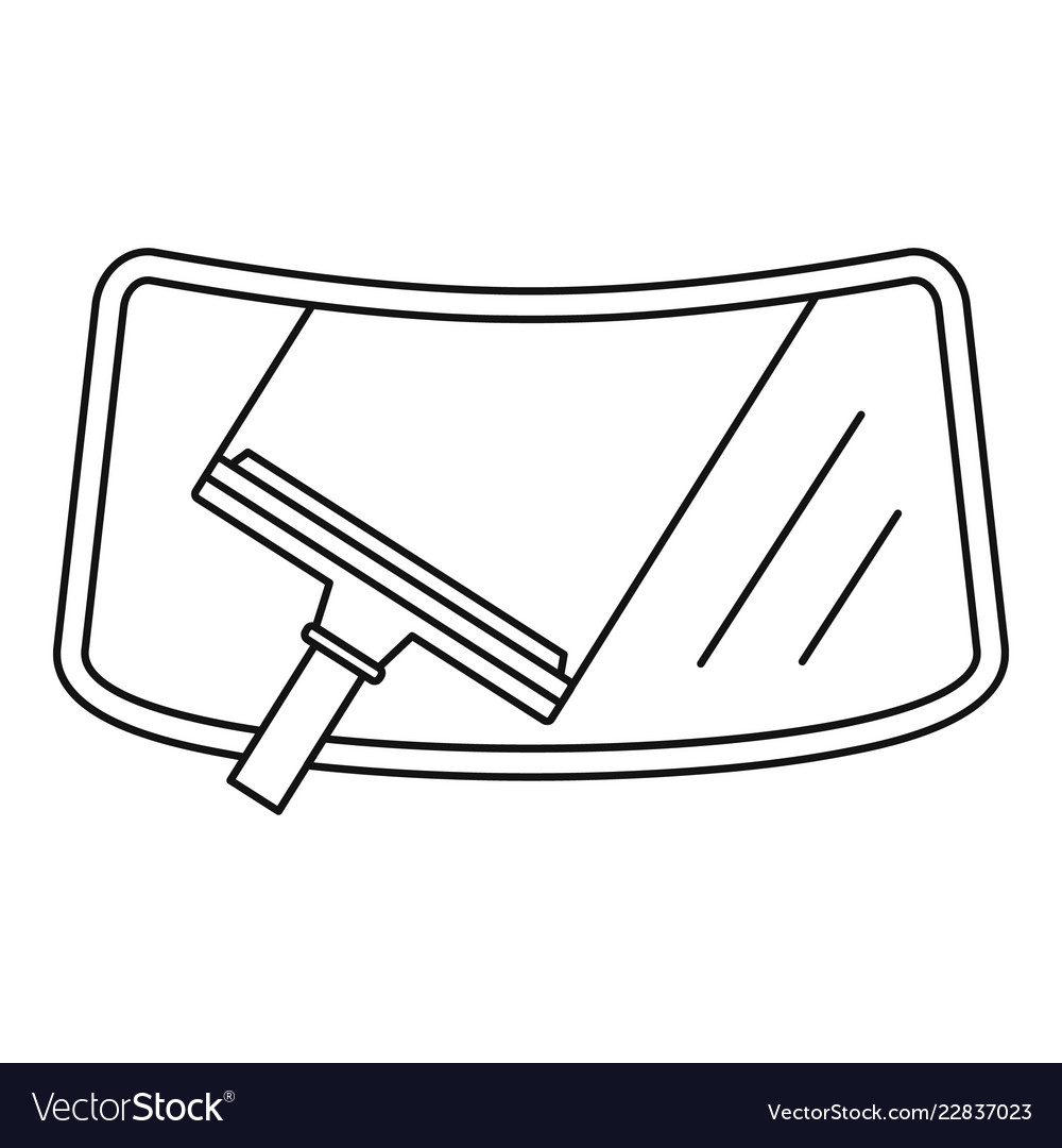 Clean car windscreen icon outline style