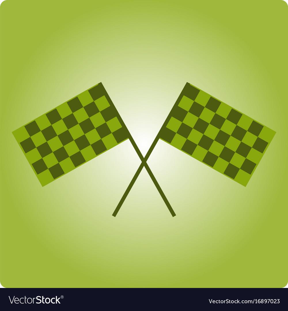 Crossed black and white checkered flags logo
