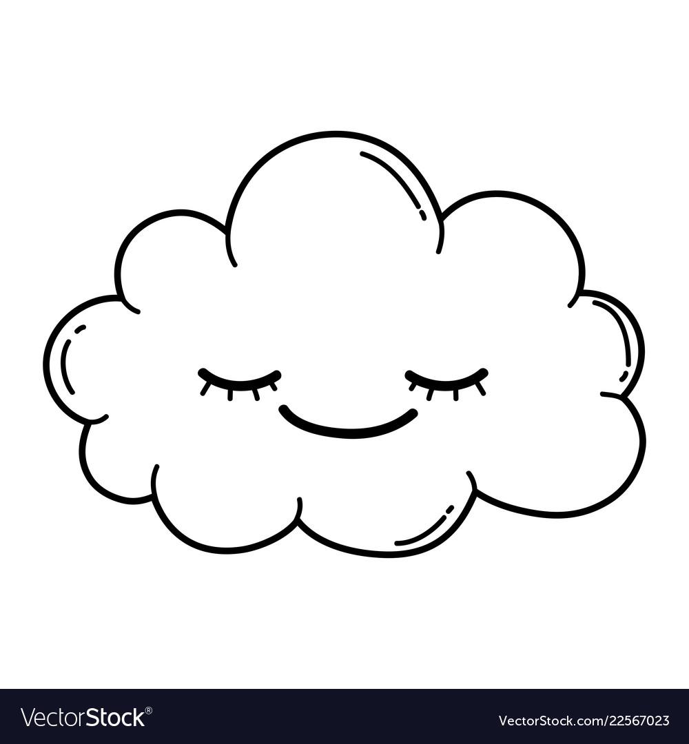 Cute cloud cartoon in black and white