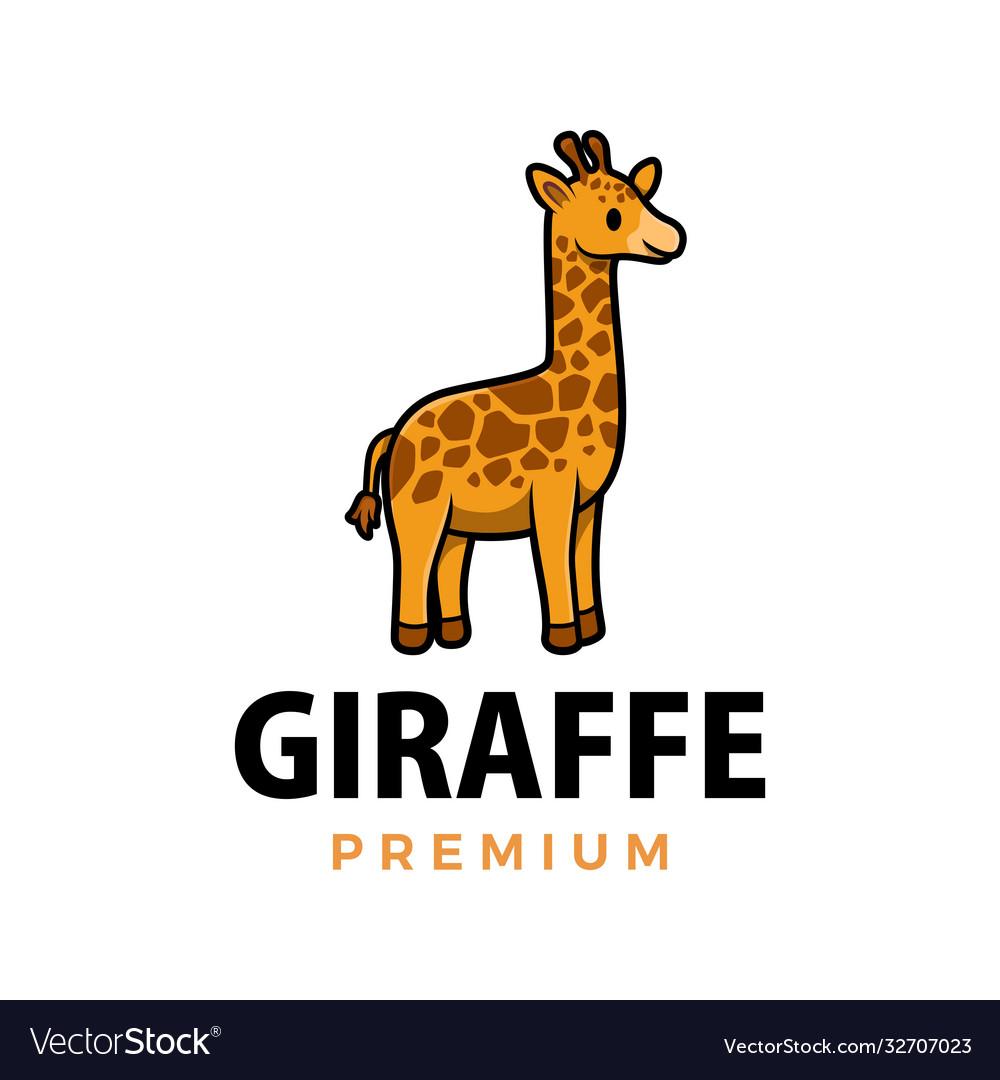 Cute giraffe cartoon logo icon