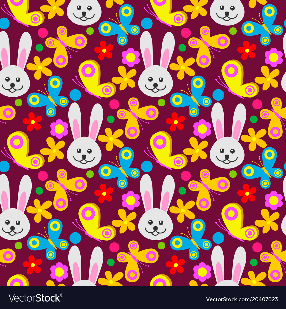 Easter rabbit character bunny seamless pattern