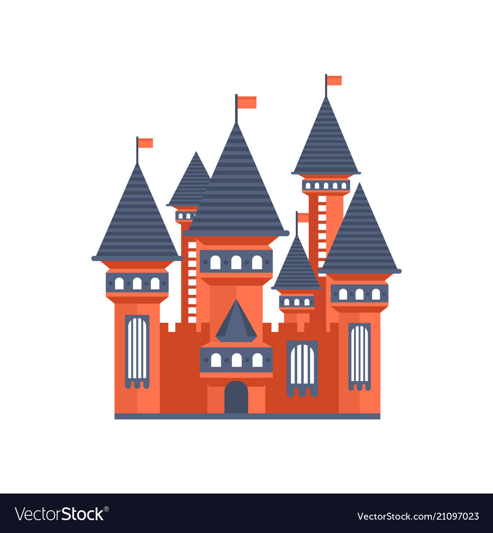 Fairytale Medieval Castle With Flags Royalty Free Vector
