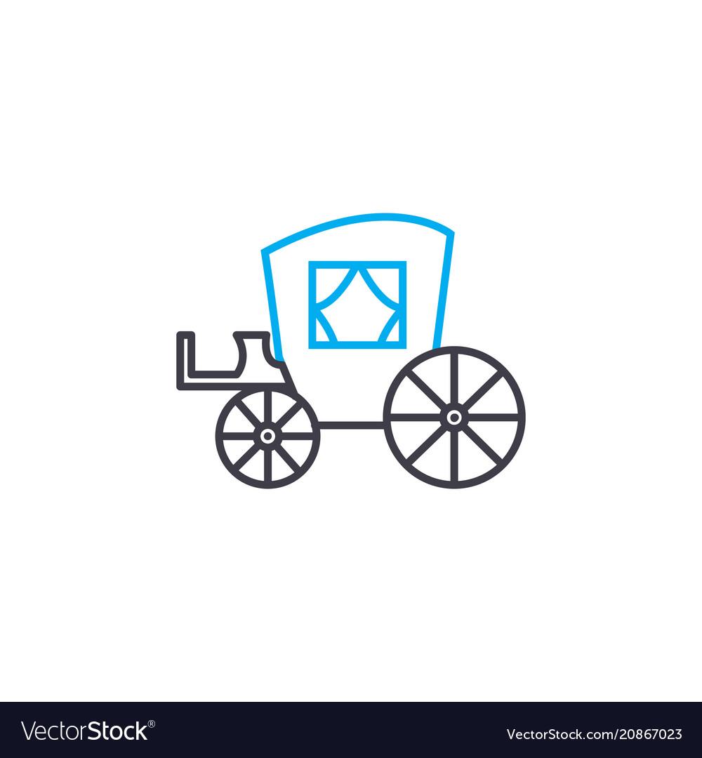 Horse coach thin line stroke icon hors