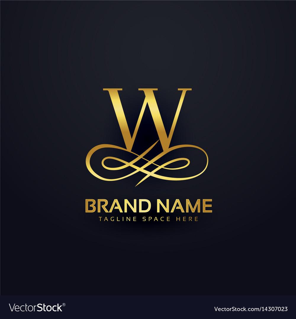 Letter w brand logo design in golden style vector image