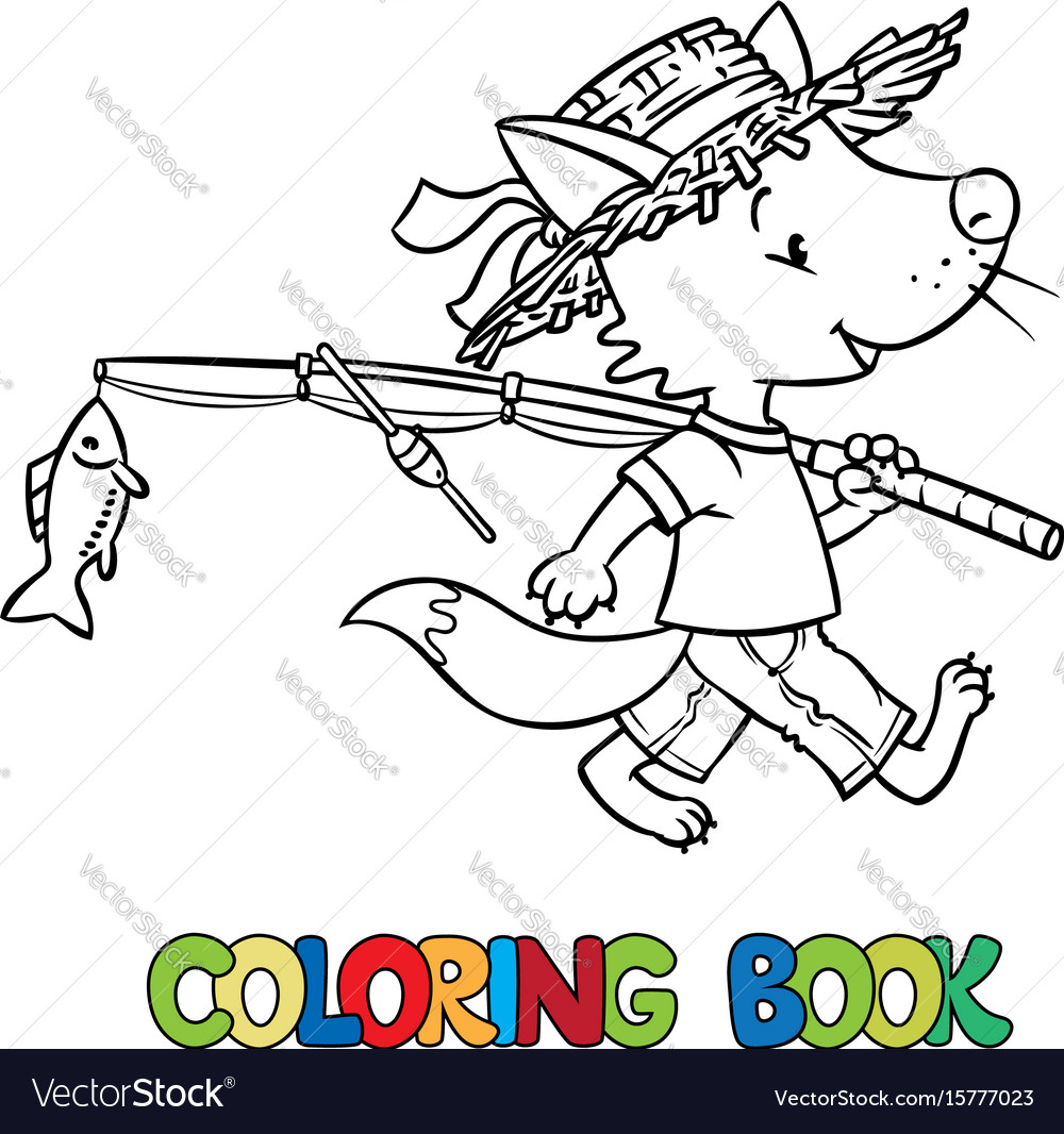 Little funny fox go fishing coloring book Vector Image