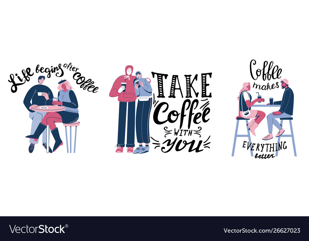 Motivational coffee quotes hand lettering