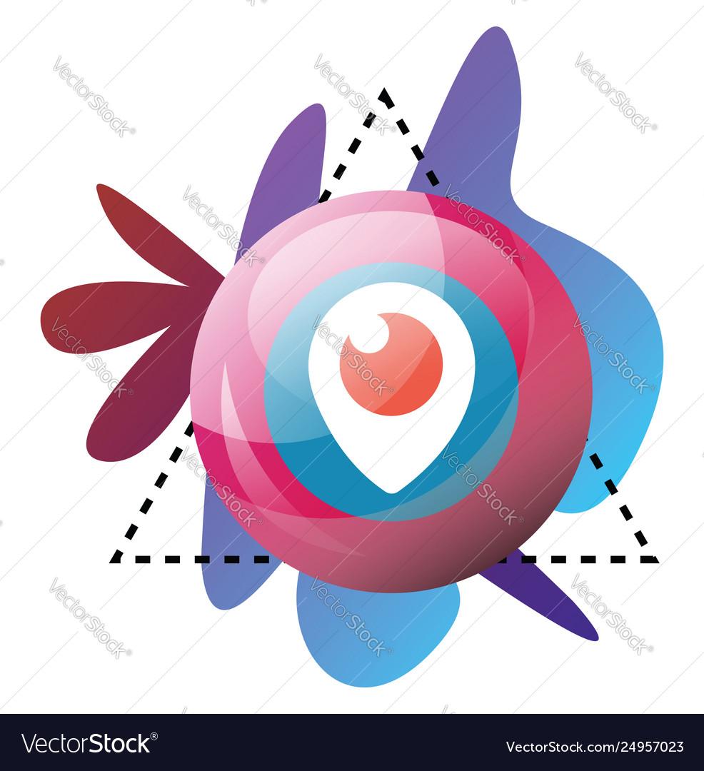 Multicolor graphics and periscope symbol bubble