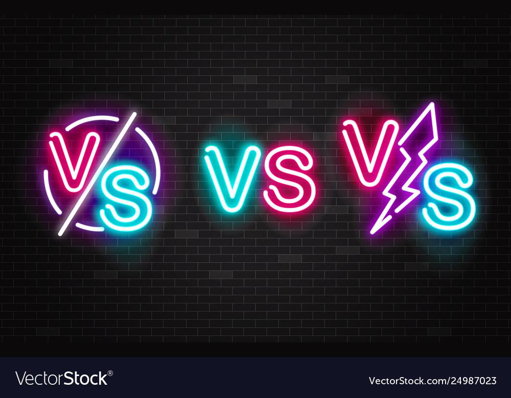 Set neon glowing battles versus signs