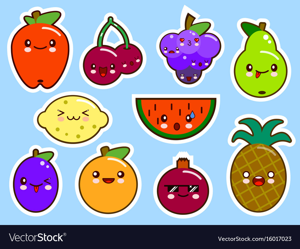 Set of fruits smiley face kawaii