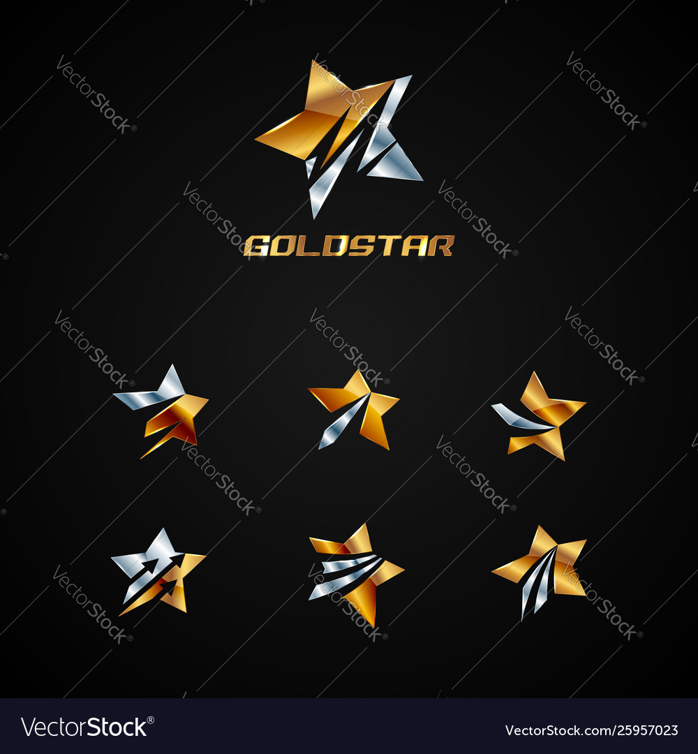 Shiny silver and gold star logo symbol
