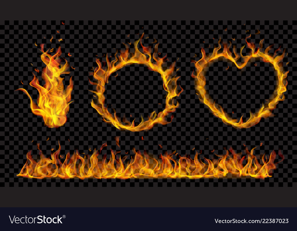 Symbols made of fire flame