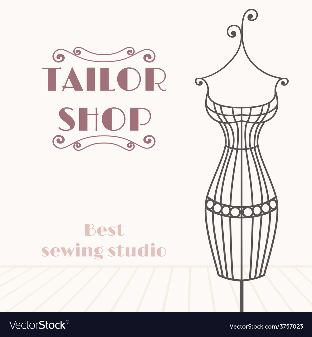 Vintage iron mannequin Tailor shop background vector image
