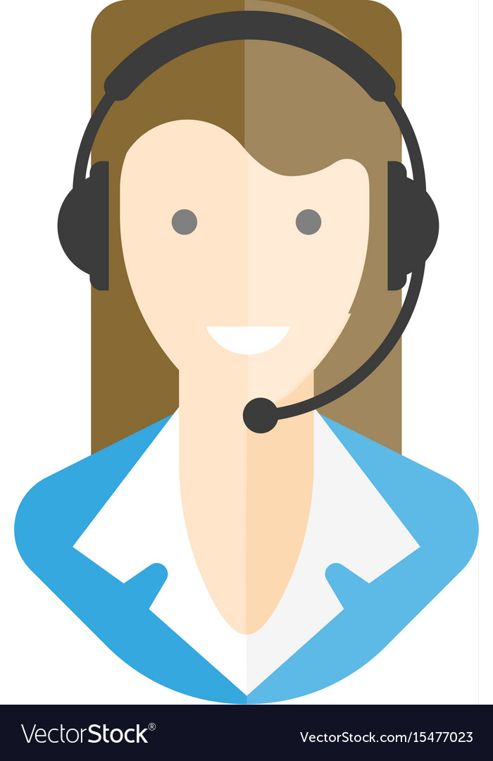 Woman-operator in headphones with microphone