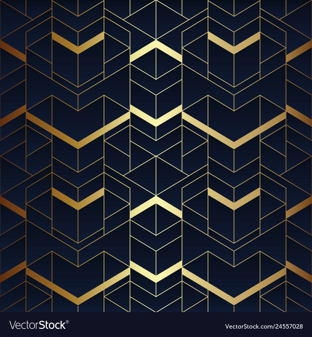 Abstract art seamless blue and golden pattern