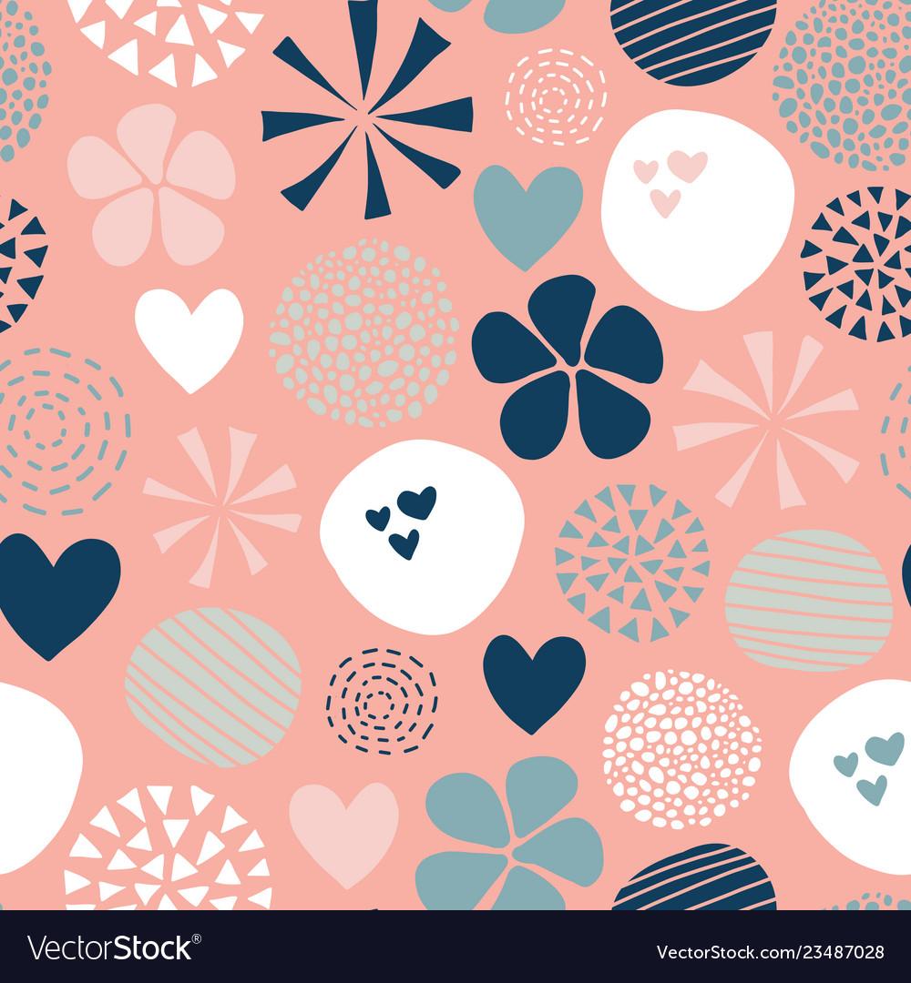 Abstract pattern flower dot heart pink blue