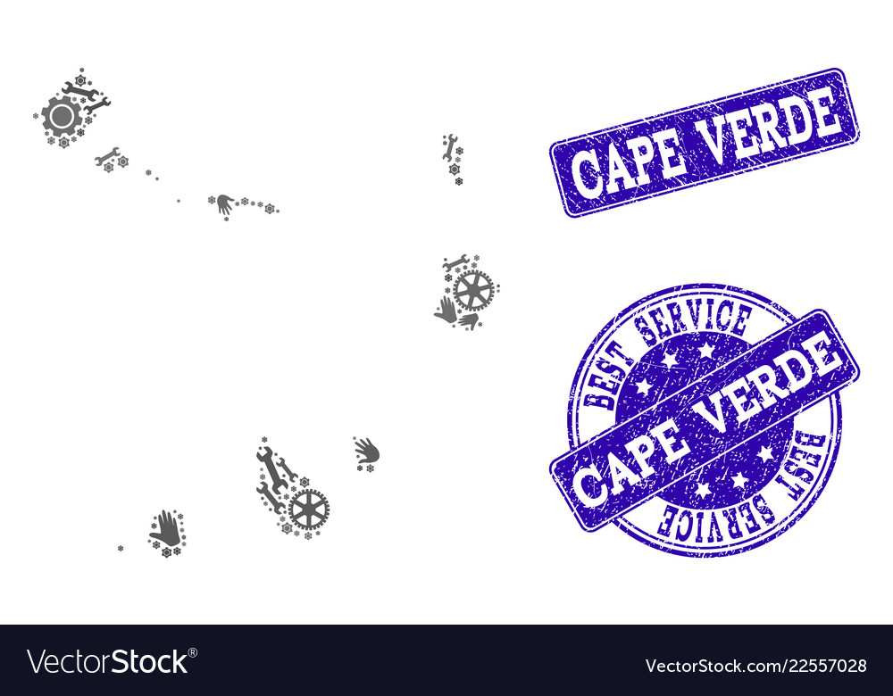 Best service collage of map of cape verde islands Vector Image
