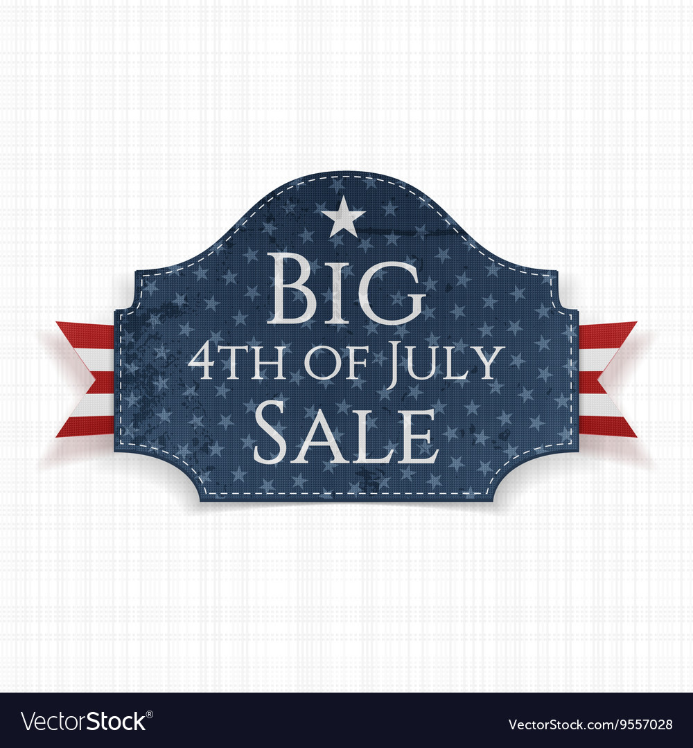 Big 4th of July Sale Label with Ribbon