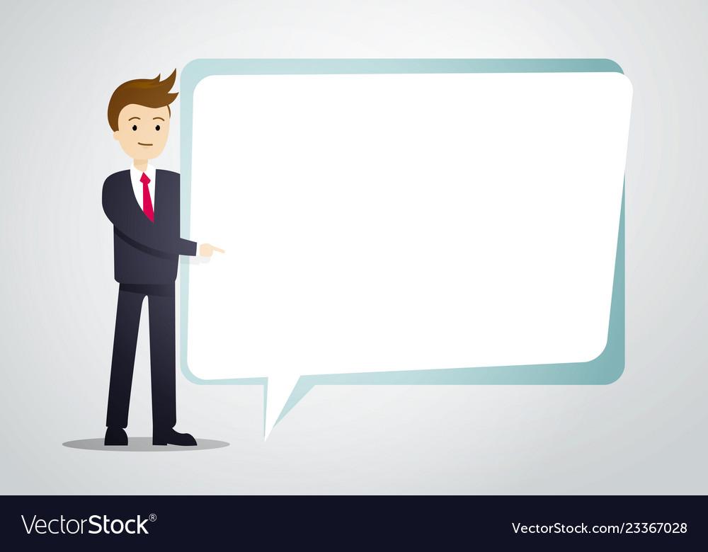 Business man hold speech bubble sheet for text