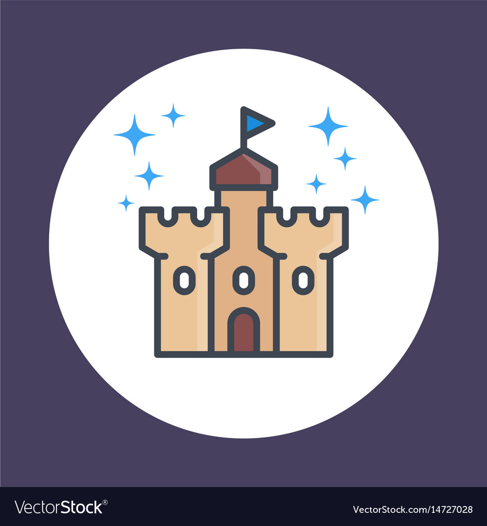 Castle fortress icon in linear style