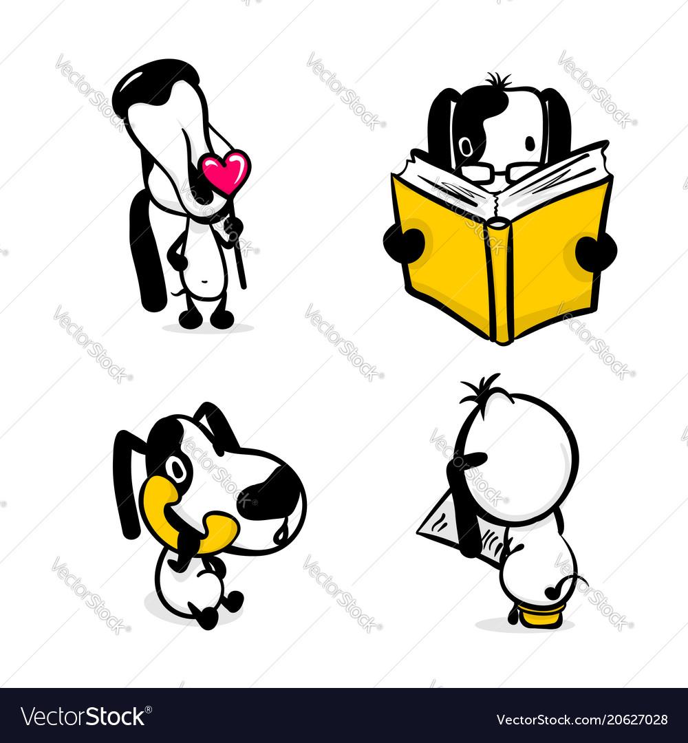 Cute comic dog monochrome sticker set