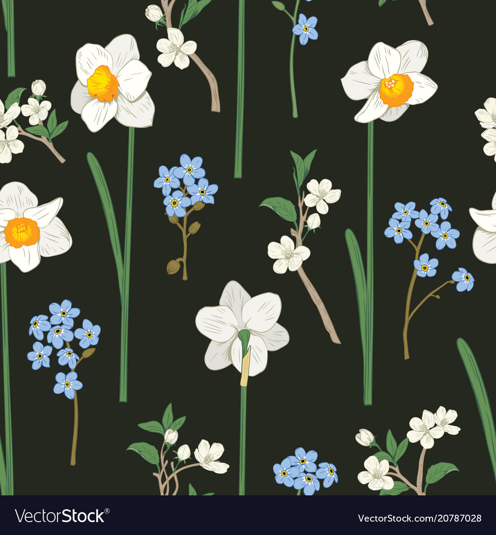 Floral seamless pattern daffodils forget me not