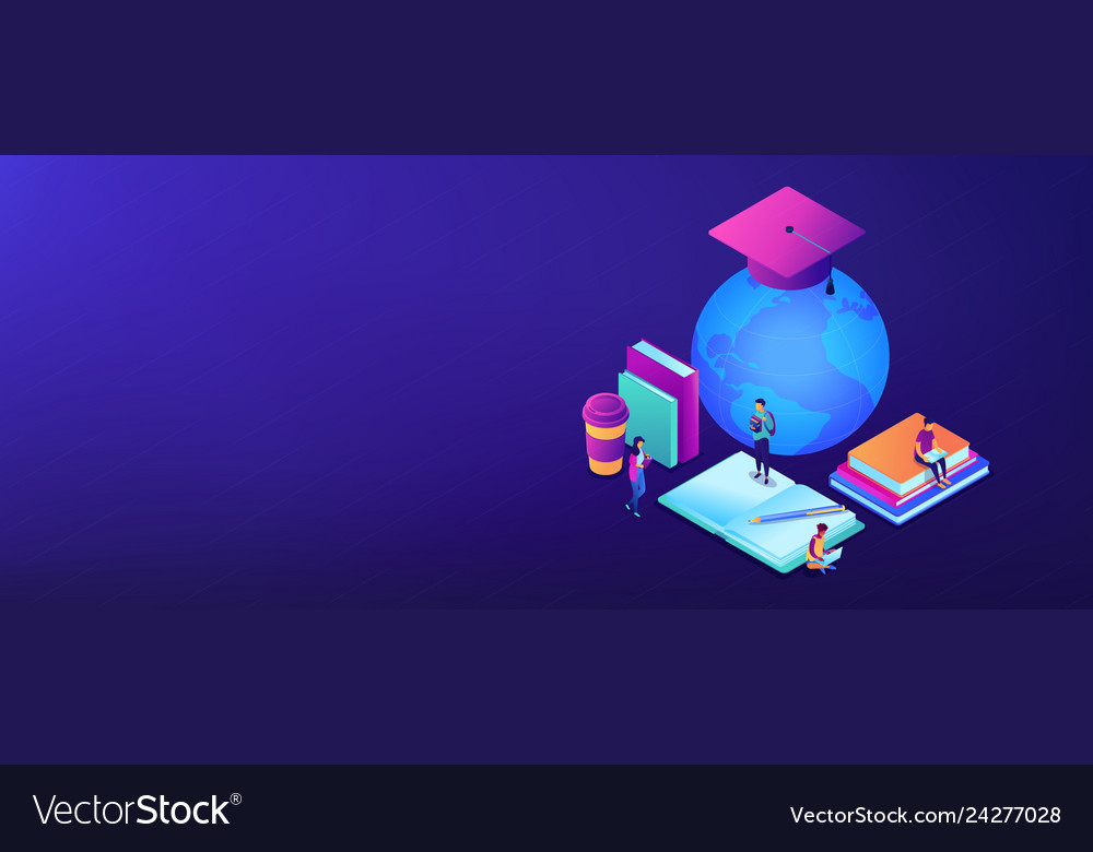Global online education isometric 3d banner header