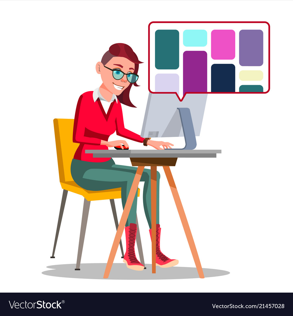 Graphic designer working woman searching