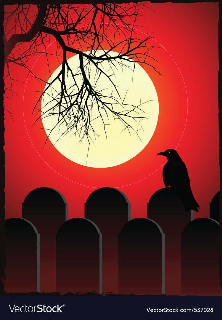 Graveyard with black crow perched on grave stone w