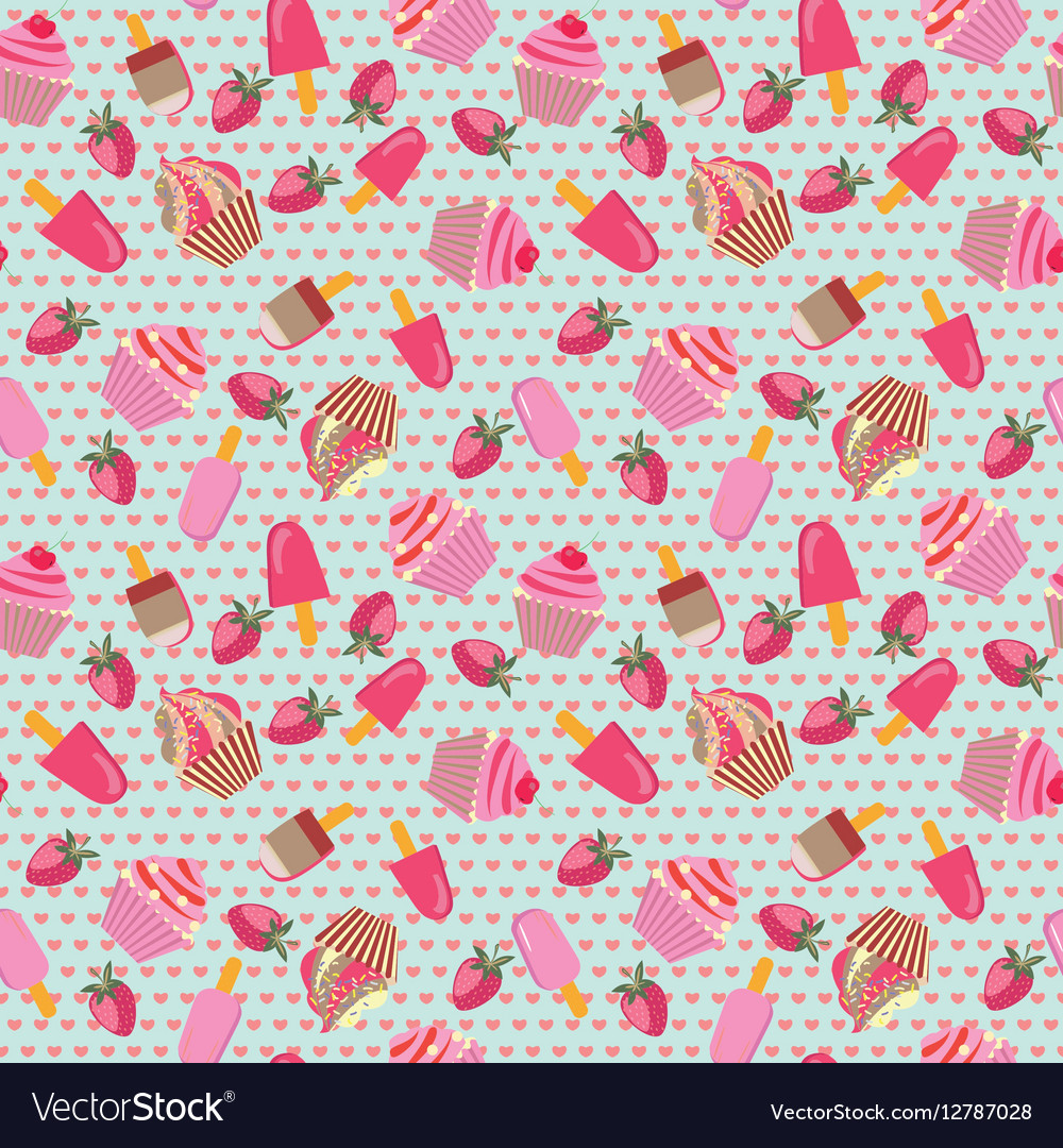 Pattern with hand-drawn ice-creams and cup-cakes
