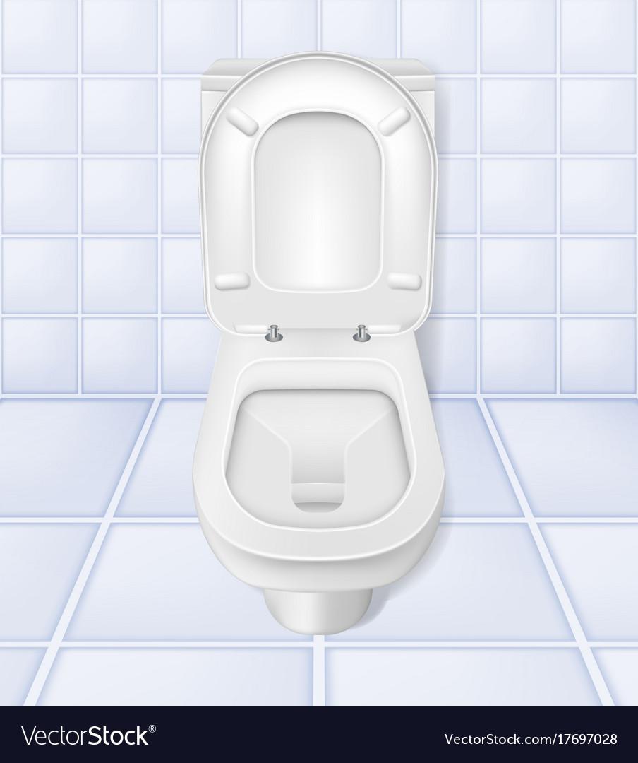 Realistic toilet mockup closeup white toilet in