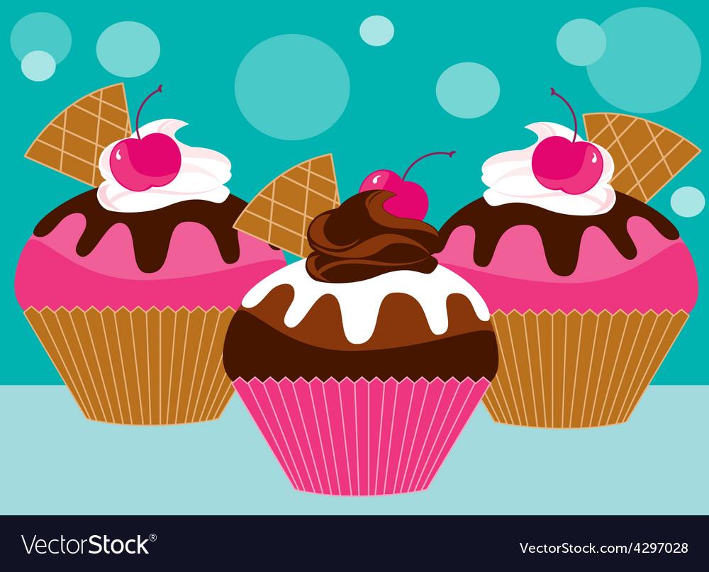 Three pink cupcakes vector image