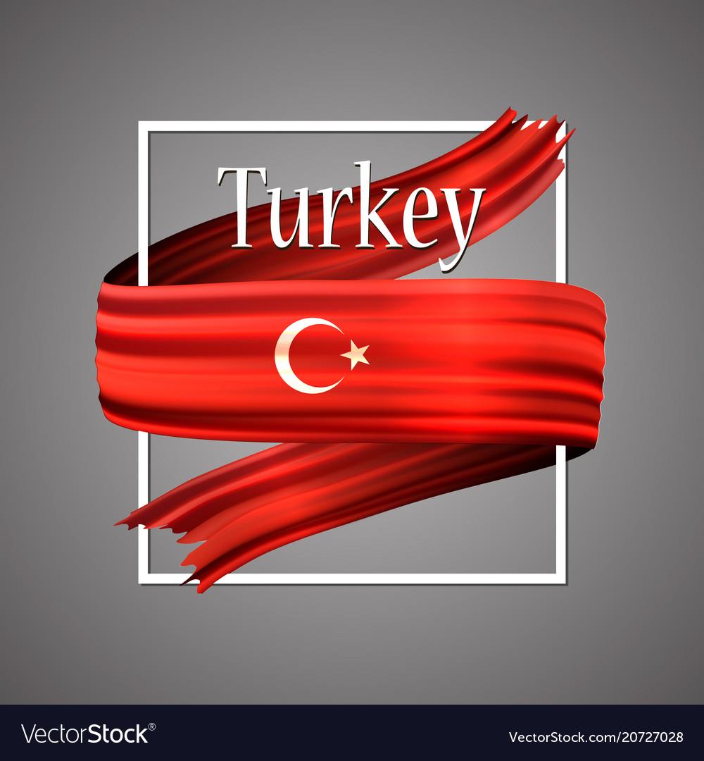 turkey flag official national turkish 3d vector image