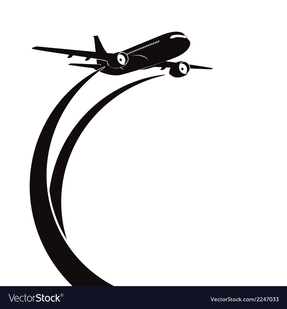 airplane silhouette on white background royalty free vector rh vectorstock com airplane vector art free airplane vector graphic