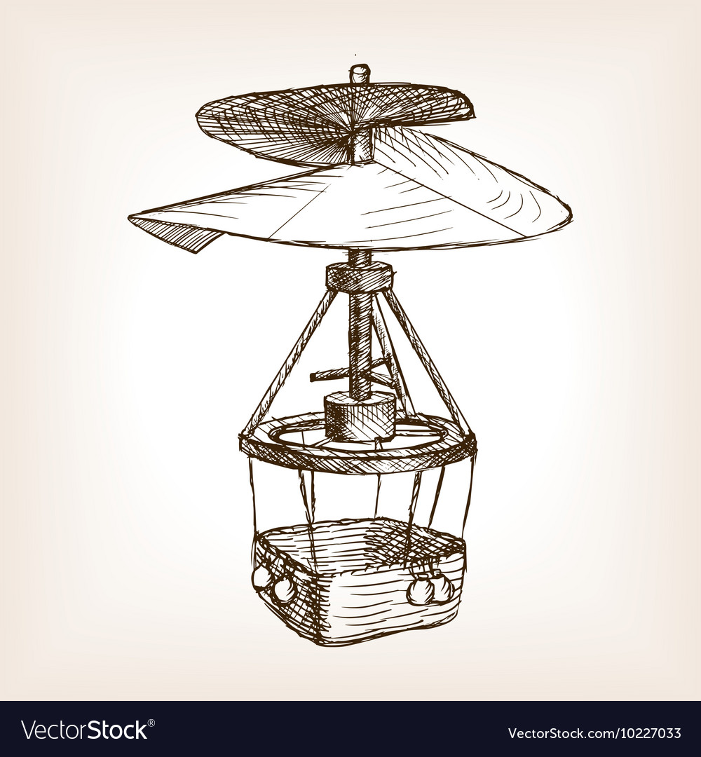 Antique helicopter hand drawn sketch vector image