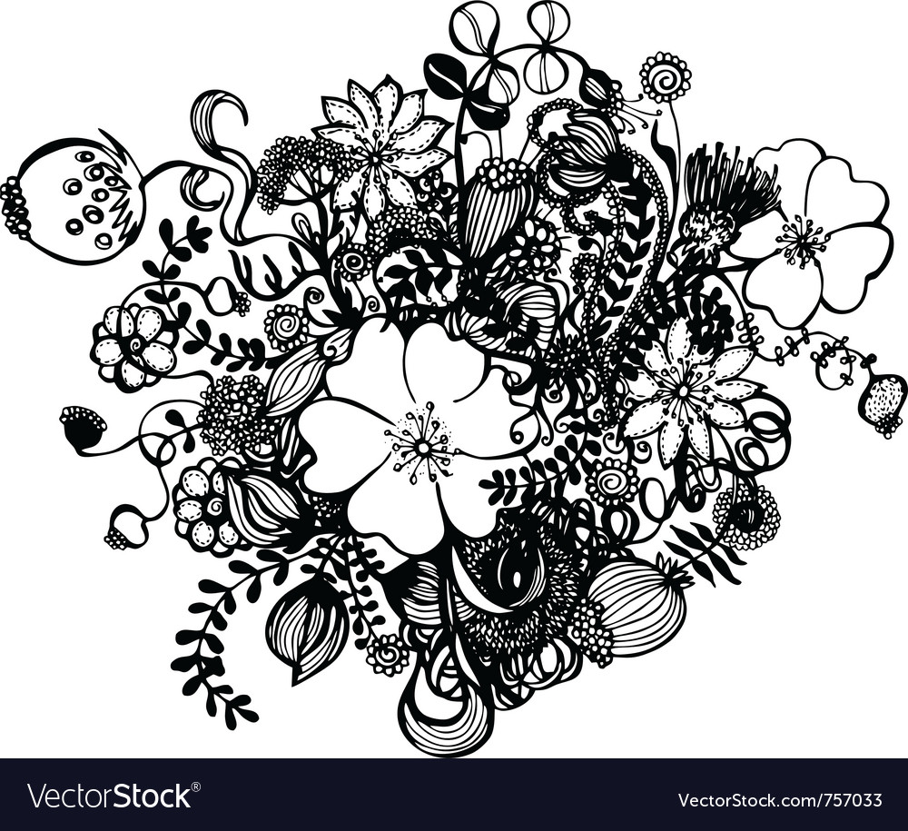 Black and white flowers royalty free vector image black and white flowers vector image mightylinksfo