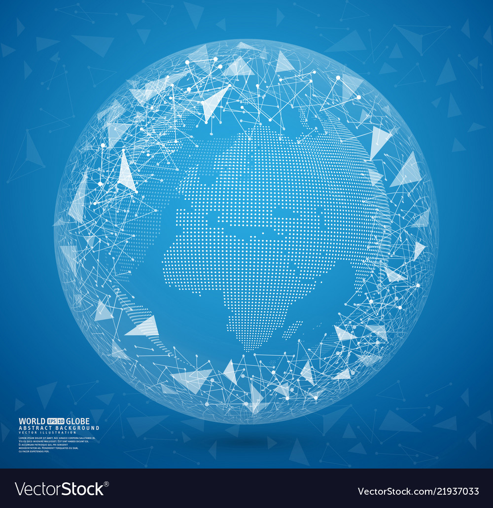 Blue abstract globe earth with connecting dots