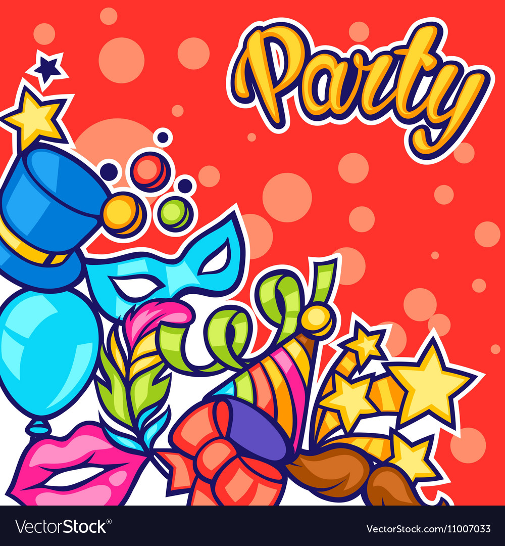 Celebration party card with carnival icons and
